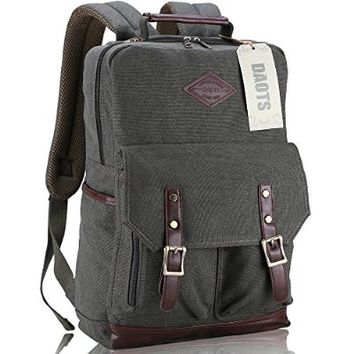 DAOTS Vintage Canvas Laptop Backpack Rucksack for College School Travel Daypack (1-Year Warranty)