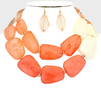 Statement Bead Necklace Coral