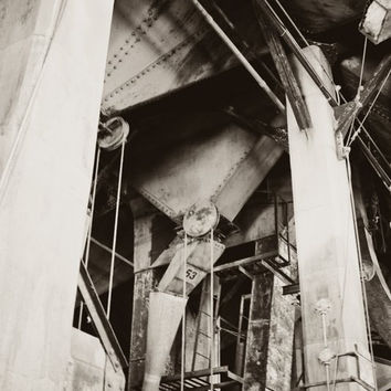 Industrial photography, architecture, home decor,factory,silo,abandoned,rust, metal, black and white, urban, fine art print, corrosion