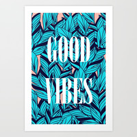 Good Vibes Blue Leaves Art Print by cadinera