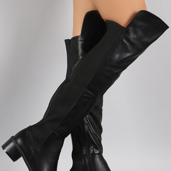 Elasticized Panel Riding Over-The-Knee Boots