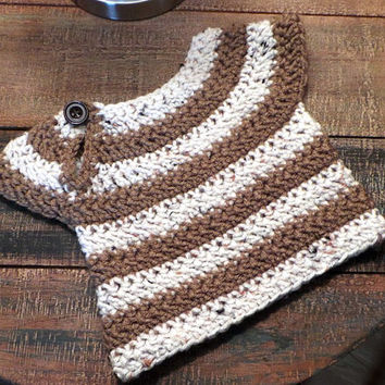Newborn size brown and oatmeal fleck striped baby sweater with keyhole shoulder button