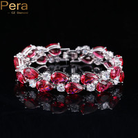 7 Colors Options Round And Oval Red Cubic Zirconia Simulated Diamond Women Big Bracelets & Bangles For Wedding Jewelry Gift B028