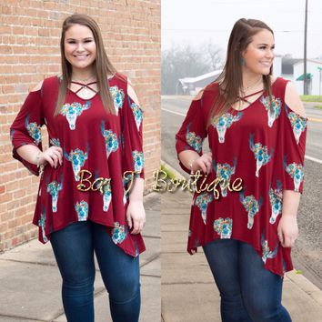 Burgundy Floral Cow Skull Criss Cross Top