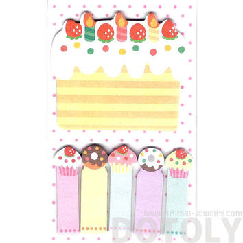 Birthday Cake and Cupcakes Food Themed Memo Pad Post-it Index Sticky Bookmark Tabs | Cute Affordable Stationery