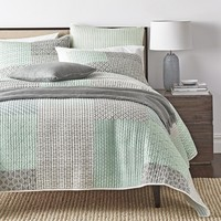 DaDa Bedding Contemporary Mint Green Grey Geometric Cotton Quilted Bedspread Set (JHW-804)