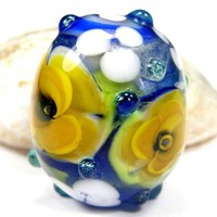 Blue Handmade Lampwork Glass Focal Bead With Yellow And White Flowers