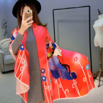 Winter wool both side wear lady printer scarf warm up Women shawl