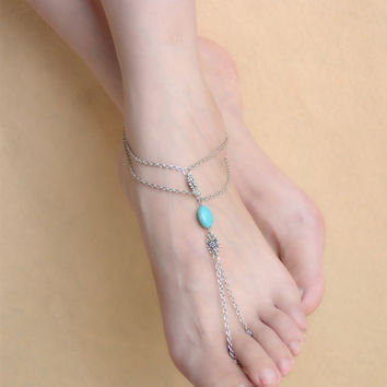 New Arrival Stylish Sexy Gift Cute Jewelry Shiny Ladies Accessory Vintage Palace Hollow Out Turquoise Tassels Anklet [6768802311]