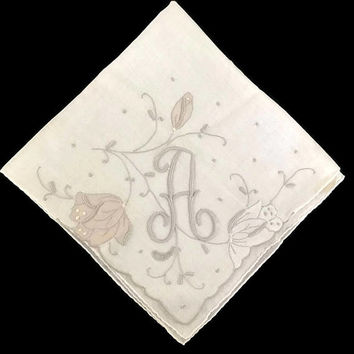 "Vintage Hankie Monogram 'A"" Appliqué and Embroidery Wedding Keepsake Made in Madiera"