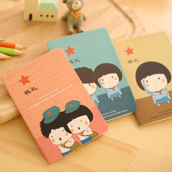 1PCs New Cute Cartoon Little Chinese Soldiers Couple Notebook Small Diary Stitching Binding Book Stationery Memo Pad E0033