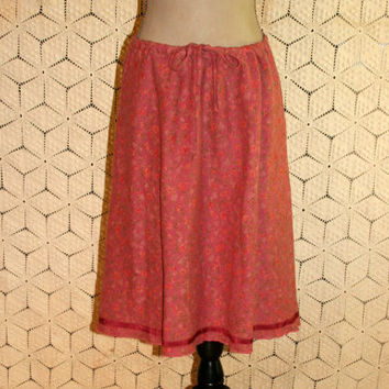 Floral Hippie Skirt Drawstring Waist Linen Summer Skirt Casual Skirt Hippie Clothing Dusty Rose Size 14 Size 16 XL Large Womens Clothing