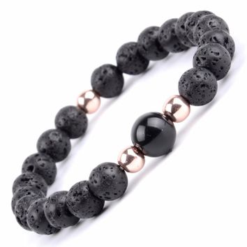 Buddha Bracelet Men Boho Natural Stone Lava Beaded Bracelets & Bangles For Women Jewelry Yoga Meditation Bangle Friendship gift