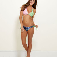 Women's Swimwear: Party Stripe Patchwork Bikini Top – Vineyard Vines