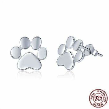 925 Sterling Silver Animal Footprints Stud Earrings