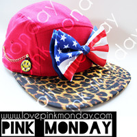 American Flag Bow Red and Cheetah Print 5 Panel Hat  / Snapback / Women and Girls / Handmade / Smiley / Leather Strap / One Size Fits All