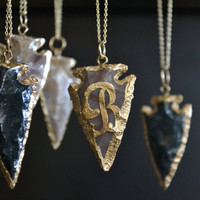 Arrowhead Necklaces ///Gold initial Necklaces/// Personalized Necklaces