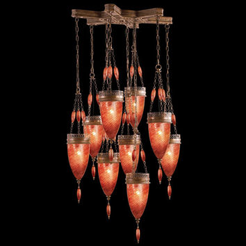 Fine Art Lamps 611040-4ST Scheherazade Nine-Light Pendant in Aged Dark Bronze Finish with Hand Blown Glass in Vibrant Sunset Red Glass Color