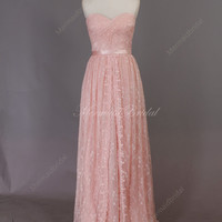 2014 New light blush pink destination wedding dress, beach dress, formal prom dress, lace wedding dress with sweep train