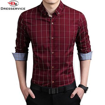 New 100% Cotton Autumn Fashion Brand Clothes Slim Fit Long Sleeve Shirt Men Plaid Casual Social miscasts masculine