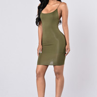 Give Me A Chance Dress - Olive