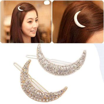 VONC1Y 2017 New Newest Crystal Moon Rhinestone Hair Accessories For Women,Hair Clips For Girls Headdress Hairpin Clamps