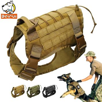 Tactical Dog Harness Training Vest Military K9 Water Resistant Harness With Detachable Molle Pouches/Patches for Large Dogs