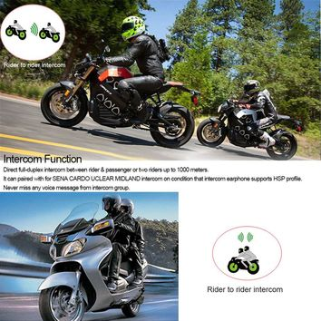 T9S Motorcycle Helmet Headset Bluetooth Intercom 1000m Interphone Distance FM Radio Hands-free with Mic IPX7 Waterproof Dust proof