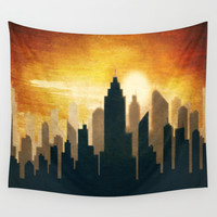 City Sunset Wall Tapestry by Tjc555