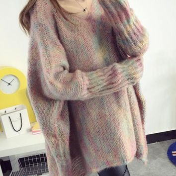 Pink Colorful V-neck Draped Fashion Sweet Long Comfy Pullover Loose Thick Knit Oversized Sweater
