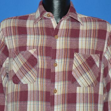 80s Big Mac Red And White Plaid Flannel Shirt Medium