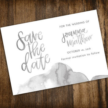 Save the Date Watercolour Watercolor Handwritten font Black and White