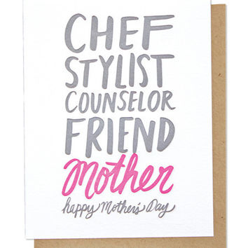THIMBLEPRESS MOTHER'S DAY ADJECTIVES LETTERPRESS CARD