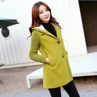 Women : Hooded Winter Wool Coat YRB0577