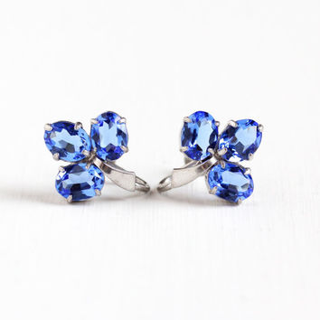 Vintage Sterling Silver Simulated Sapphire Art Deco Screw Back Earrings - 1940s Blue Open Back Glass Stone Three Leaf Clover Clip On Jewelry