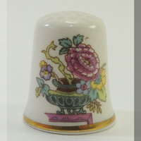 Masons Patent Ironstone Floral and White Porcelain Thimble from DreamLand Specialties