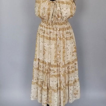 Vintage Mexican Peasant Dress Folk  Maxi Dress Romantic Gypsy Sundress Boho Golden Floral Say Dress Size 14 Medium Large Country Festival