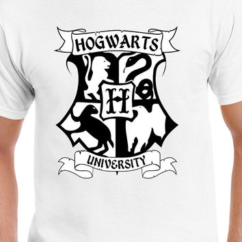 Harry Potter Inspired Hogwarts Black and White Logo T-Shirt of Gryffindor, Slytherin, Hufflepuff, and Ravenclaw