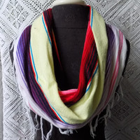 Lightweight Pastel Serape Mexican Blanket Large Cowl Scarf With Fringe- Free Shipping to Continental US