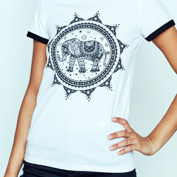 ELEPHANT GRAPHIC RINGER TEE - STYLE STEALS