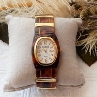 Joan Rivers Classics Faux Tortoise Shell Gold Stretch Band Womens Watch
