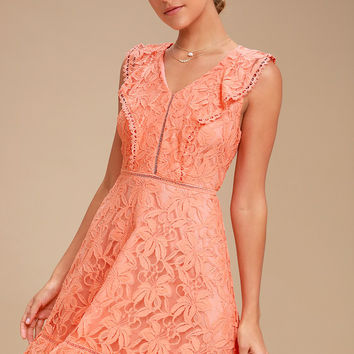 Rease Coral Orange Lace Ruffled Dress