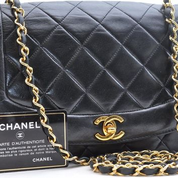 Authentic CHANEL Lamb Skin Matelasse Chain Shoulder Bag Black CC 37016