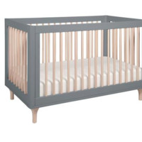 Babyletto Lolly 3-In-1 Convertible Crib With Toddler Bed Conversion Kit, Gray/Washed Natural