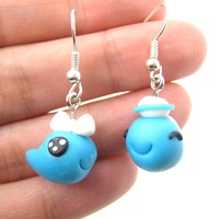 Whale Shaped Animal Themed Polymer Clay Dangle Earrings | DOTOLY