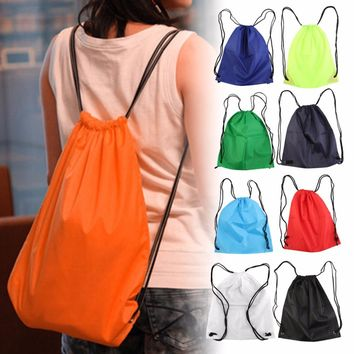 39*33.5cm Premium School Drawstring Duffle Bag Sports Gym Swim Dance Shoe Waterproof Backpack Travel String Bag carry handles