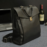 black classic leather canvas backpack bookbag gift