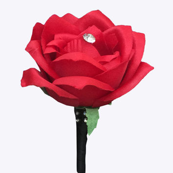 Boutonniere:Apple Red rose with Ribbon wrapped stem and bling(ribbon color can be picked)
