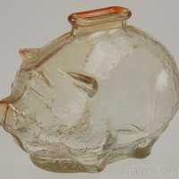 "Vintage Anchor Hocking Glass Piggy Bank Coins Small Cute Clear 4"" Pig Textured"