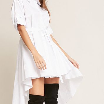High-Low Poplin Shirt Dress